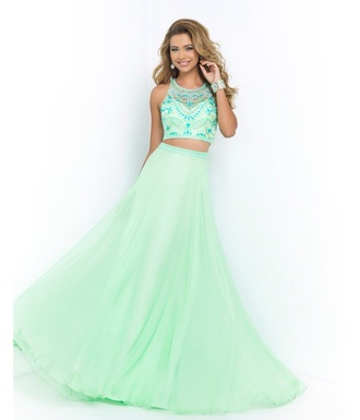 blouse light green dress two pieces prom dress long prom dress sleeveless prom dress chiffon prom dress mint prom dress