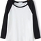 Black white round neck loose casual t-shirt -shein(sheinside)