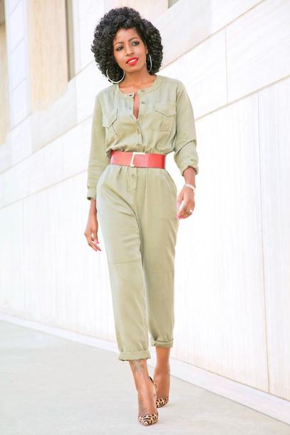 blogger jumpsuit belt shoes
