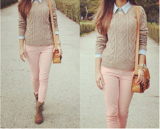 sweater knitted sweater collared shirt pink jeans boots combat boots jewels shoes blouse bag beige pastel pink