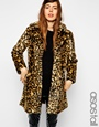 Asos tall faux fur coat in animal print at asos.com