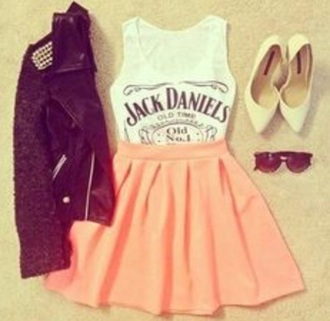 blouse jack daniel's shirt biker jacket tan tom's pink skirt glasses