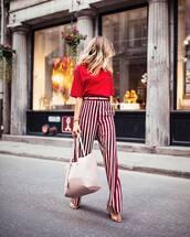 pants,tumblr,wide-leg pants,top,red top,stripes,striped pants,sandals,sandal heels,high heel sandals,bag,tote bag