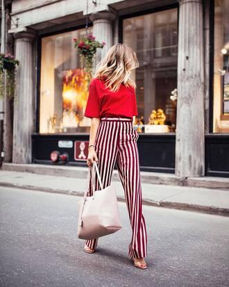pants tumblr wide-leg pants top red top stripes striped pants sandals sandal heels high heel sandals bag tote bag
