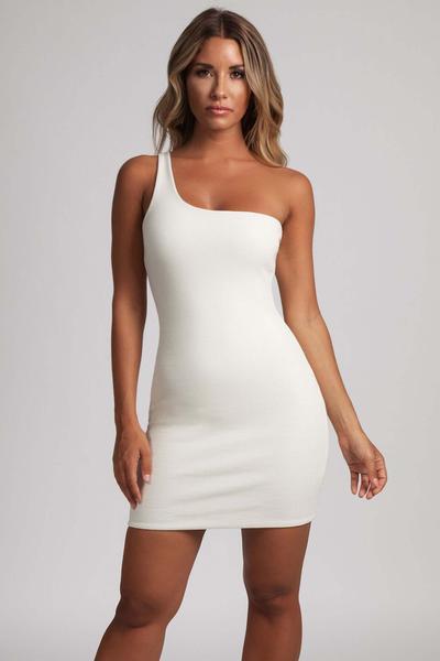Scarlett One-Shoulder Bodycon Rib Mini Dress - Cream