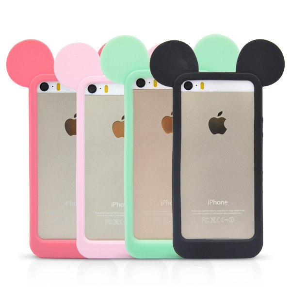 New fashion black 3d mickey mouse ears silicon frame bumper for iphone 5g 5 5s case soft rubber lovely cartoon phone cases cover