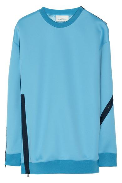 3.1 Phillip Lim|Zip-trimmed Techno neoprene sweatshirt|NET-A-PORTER.COM