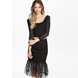 Fashion black 3/4 sleeve top and dot tulle hemmed skirt for women_20.52