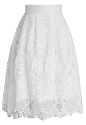 skirt,chicwish,pure white,crochet midi skirt,retro style,chicwish.com