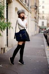 meet me in paree,blogger,sweater,knee high socks,satchel bag,plaid skirt,mini skirt,fur hat,winter outfits,jacket,hat,lacoste,socks