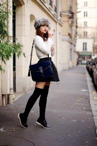 meet me in paree blogger sweater knee high socks satchel bag plaid skirt mini skirt fur hat winter outfits jacket hat lacoste socks