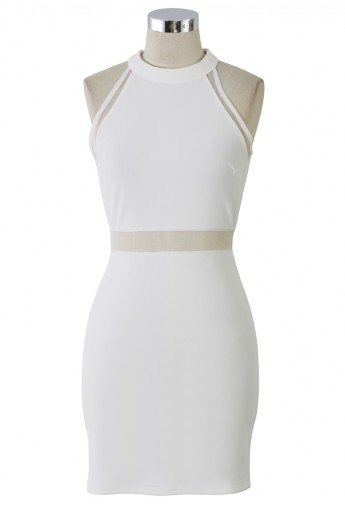Mesh Insert White Body-Con Dress - Retro, Indie and Unique Fashion