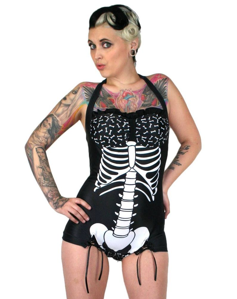 Too Fast Mandy Skeleton Ribs Bones Black White Gothic Swimsuit Swimming Costume