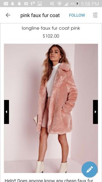coat fur faux fur pink