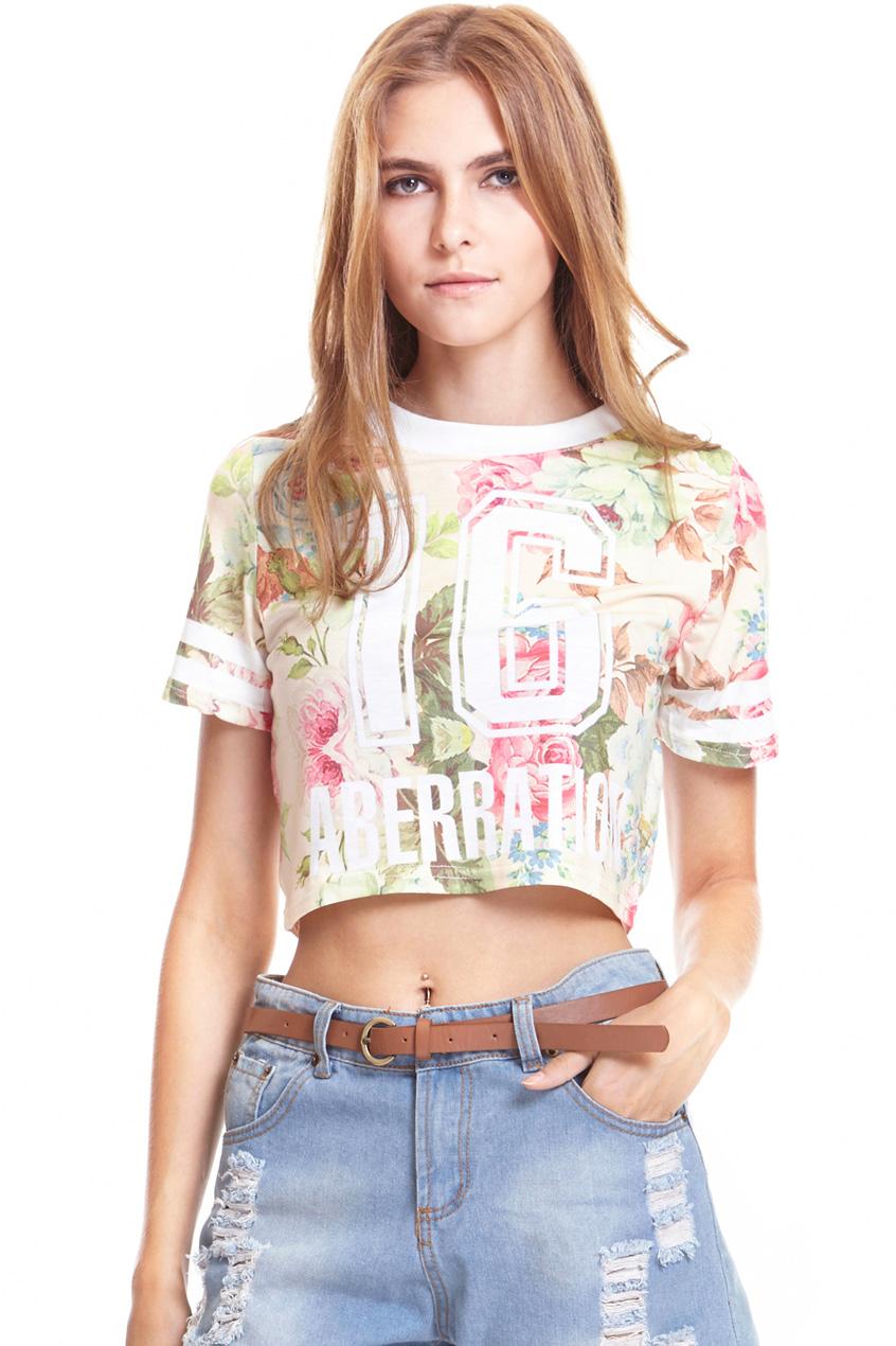 ROMWE | Peony Flower Print Stripe T-shirt, The Latest Street Fashion