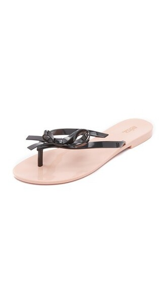 bow sandals black pink shoes