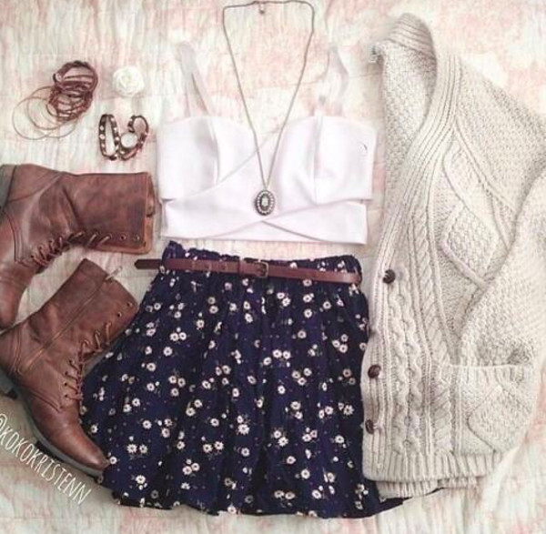 cardigan bralette boots belt jewels