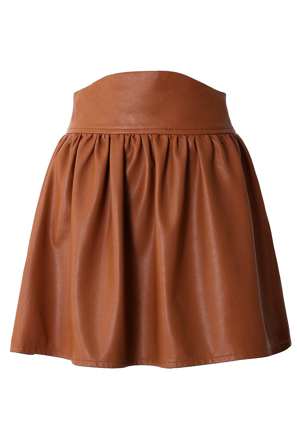 brown pencil high waist skirt brown faux leather high