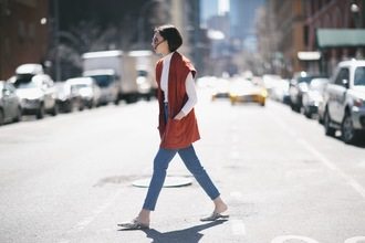 we wore what blogger jacket vest rust
