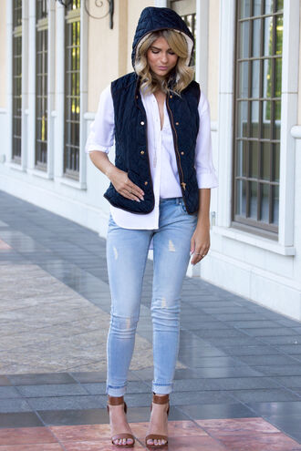 coat sweater vest puffer vest navy hoodie jeans skinny jeans boyfriend jeans blue jeans heels white white top long sleeves fall outfits fall colors fall sweater trendy ootd cute love lovely