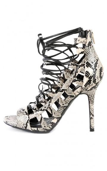 Wild Diva Adele-67 Strappy Snake Gladiator Heels | MakeMeChic.com