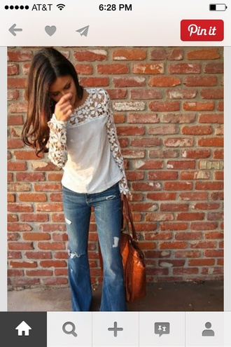 blouse shirt lace tee lace shirt long sleeves cream lace lace jeans off-white