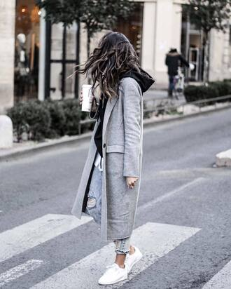 coat tumblr grey coat long coat grey long coat denim jeans blue jeans ripped jeans hoodie black hoodie sneakers white sneakers low top sneakers