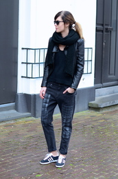 lovely by lucy,blogger,scarf,boyfriend jeans,leather jacket,adidas shoes