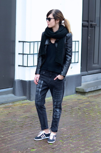 lovely by lucy blogger scarf boyfriend jeans leather jacket adidas shoes