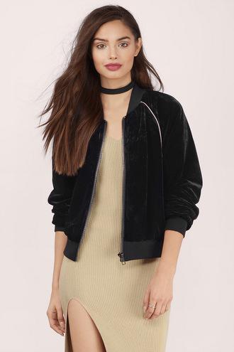 jacket black bomber jacket velvet velour