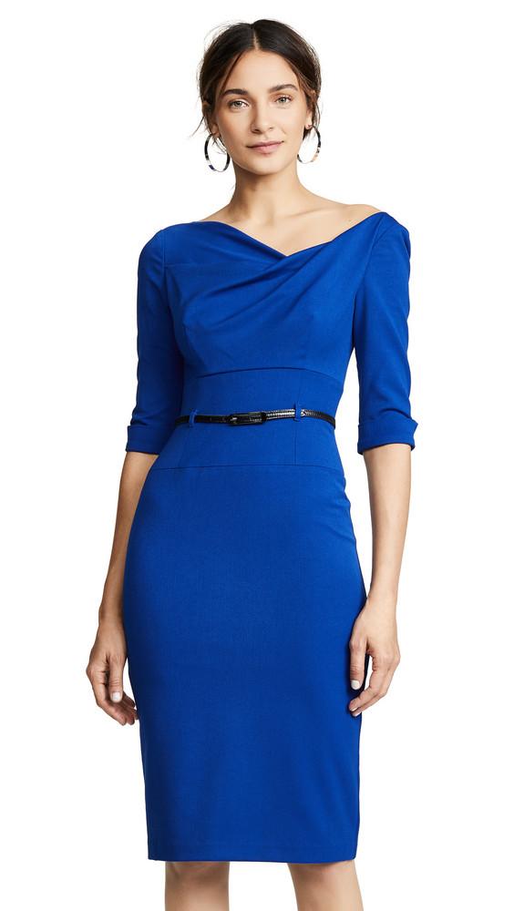 Black Halo 3/4 Sleeve Jackie O Dress in cobalt