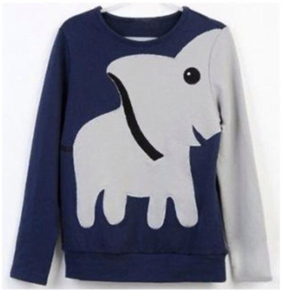 hoodie sweater blue hoodie kawaii animals elephant elephants pullover
