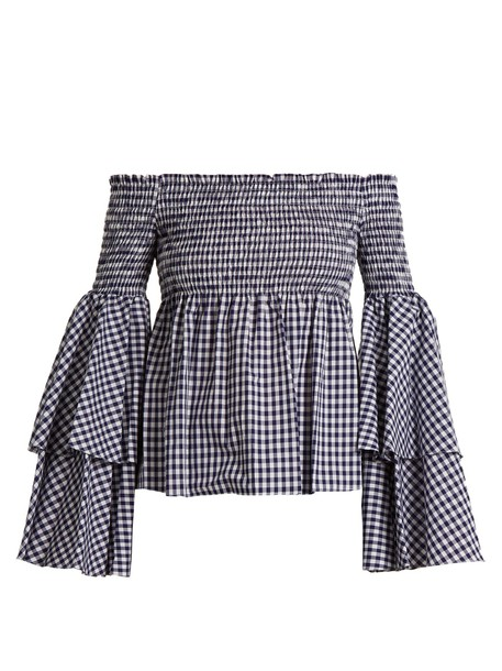 Caroline Constas blouse gingham navy white top