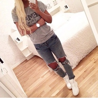 jeans grey holes cute girly