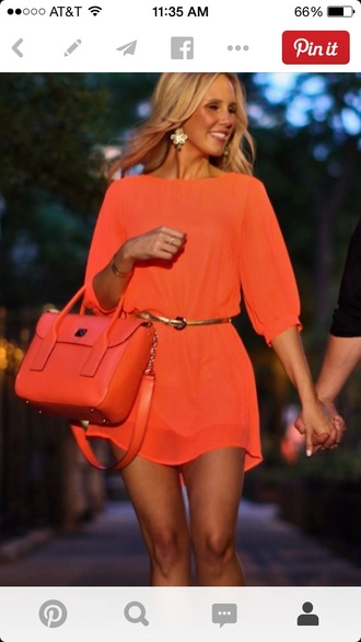 dress gossip girl blonde hair orange dress shoes top skirt style boots t-shirt shorts summer dress bag