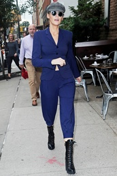shoes,boots,blake lively,suit,blazer,blue,pants,fashion week,celebrity,fall outfits