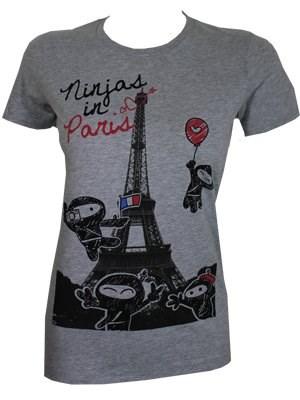 Goodie Two Sleeves Cute Ninja's in Paris Ladies Grey T Shirt New Official | eBay