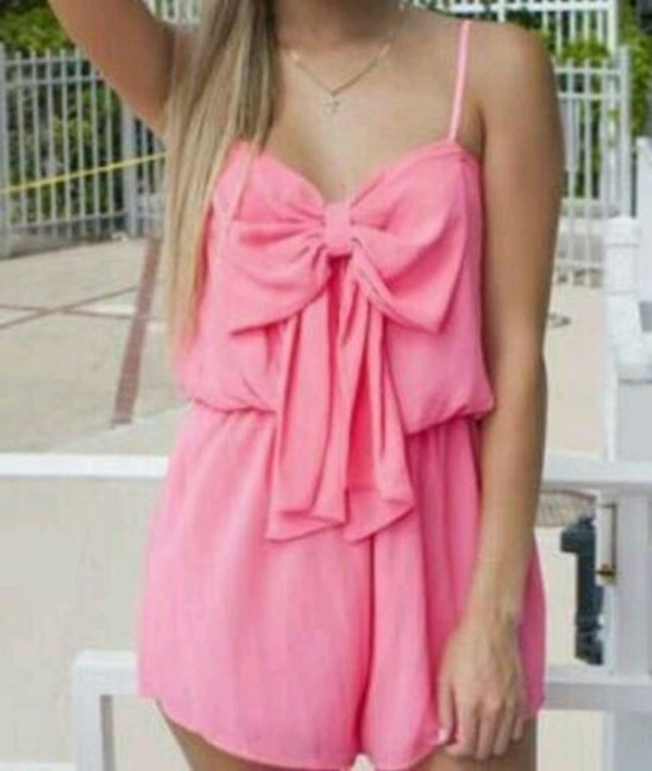 romper pink playsuit summer bows cute outfits