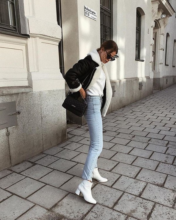 219c51be31582b shoes boots white boots blue jeans jacket shearling jacket leather jacket  sunglasses ankle boots jeans denim.