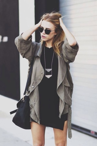 coat long cargo army green rain coat
