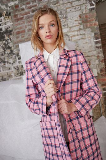 Parker Coat in Sherbet Pink Plaid
