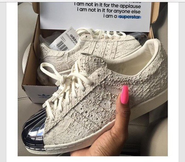 7a1877845e6a6 shoes creme snake skin silver adidas adidas low top sneakers white snake  print snake skin metallic