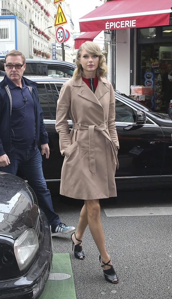 coat dress trench coat taylor swift sandals