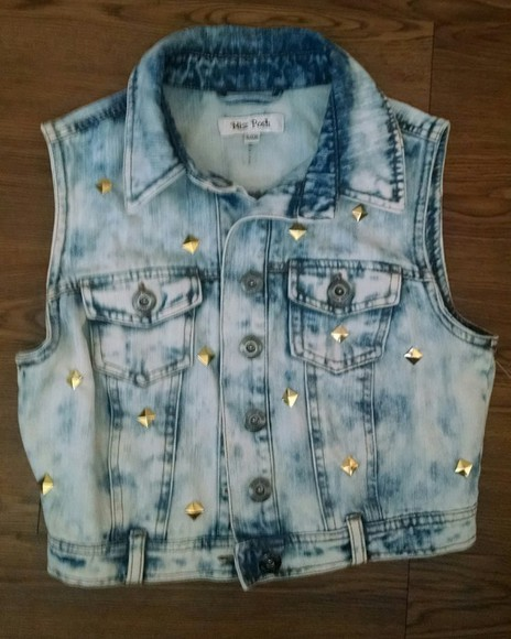 vest jacket denim acidwash jacket studdeddenim