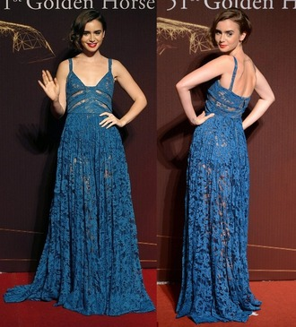 dress lily collins lace dress lace blue gown prom dress