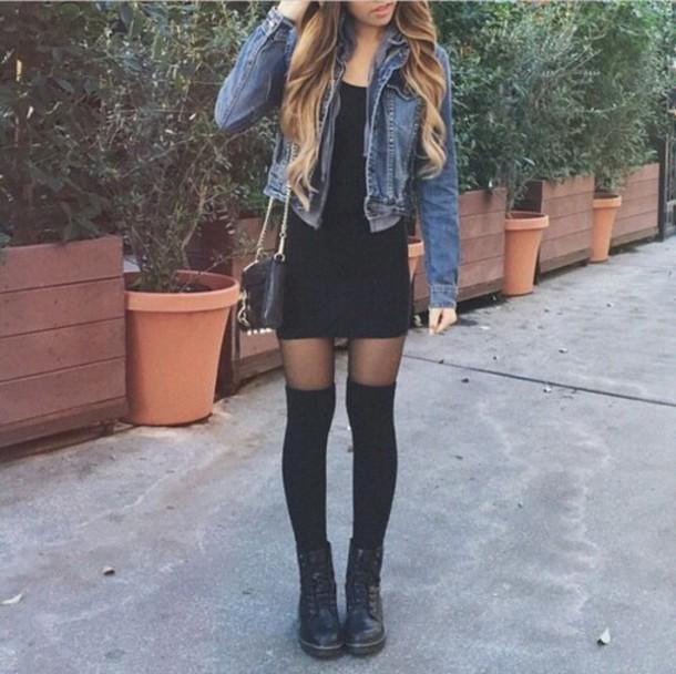 tights dress black dress short dress hipster summer dress high heels denim jacket jacket shoes socks