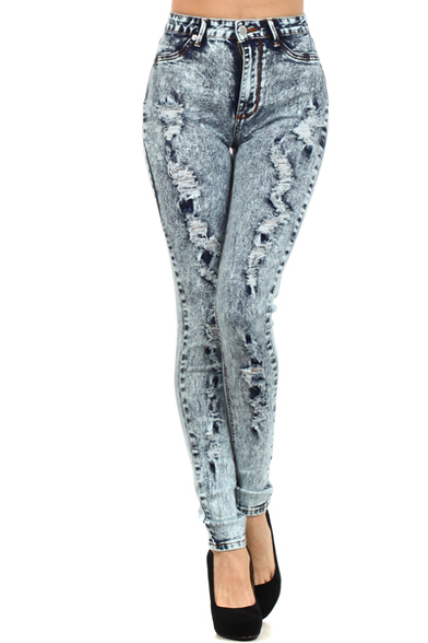 High Waist and Ripped Detail Skinny Jeans