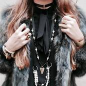 jewels,tumblr,necklace,black neckalce,charm bracelet,bracelets,shirt,black shirt,coat,fur coat,boho jewelry