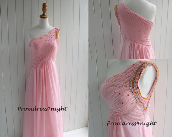 sequin dress one shoulder prom dress one shoulder formal dress pink formal dress pink evening dress chiffon dress long prom dress 2015 prom dress new style dress celebrity dress homecoming dress