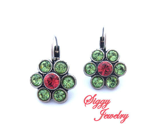 Swarovski crystal daisy earrings **SUMMER BLOSSOMS** bright and colorful, green and pink, Siggy Jewelry